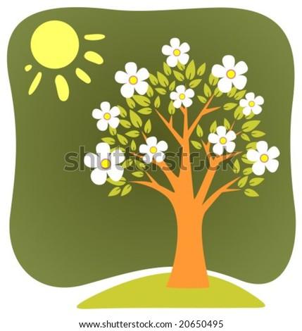 Apple Tree Cartoon Images Blossoming Cartoon Apple Tree