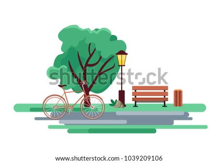 Blossoming city park in spring with a dense green tree, a bench and a bicycle. Vintage urban lamp. Outdoor nature landscape illustration. Happy enviroment. Flat vector illustration isolated on white.
