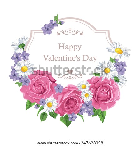 Blossoming roses with spring flowers on white. Vector illustration. Perfect for background greeting cards and invitations of the wedding, birthday, Valentine\'s Day, Mother\'s Day.