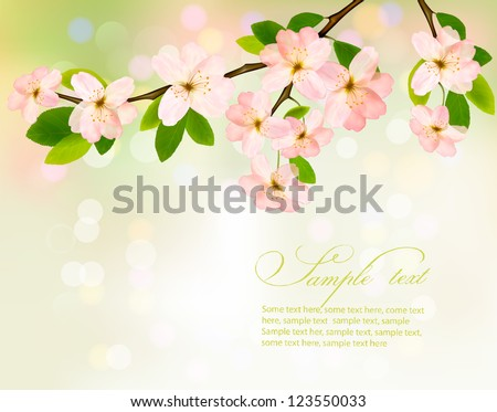 Blossoming tree brunch with spring flowers on green background. Vector illustration.