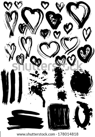 blots splash banners and heart