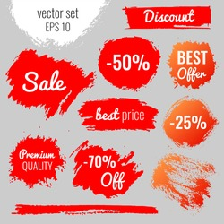 Blots, stains to label, discount, best price. Vector set illustration in grunge style EPS10