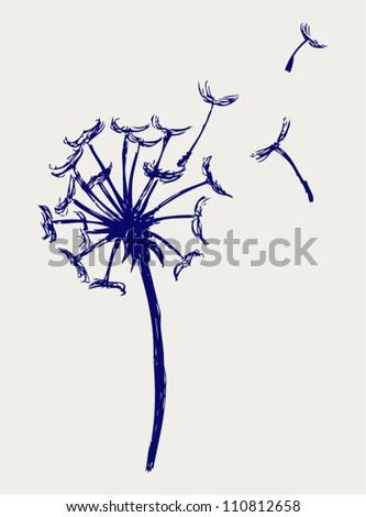 Blow Dandelion. Doodle style
