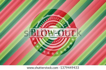 Blow-out christmas colors emblem.
