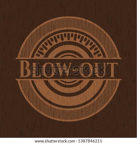 Blow-out vintage wood emblem. Vector Illustration.