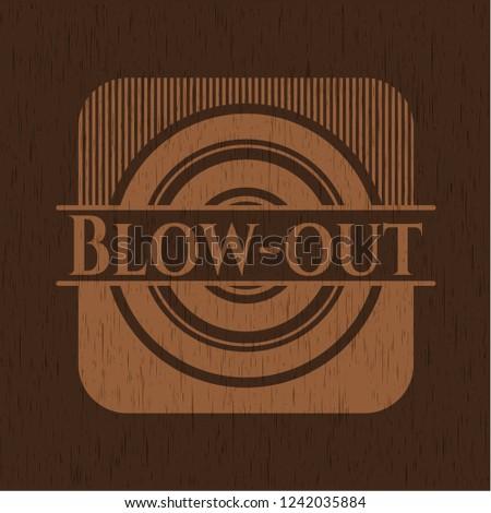 Blow-out wooden emblem. Vintage.