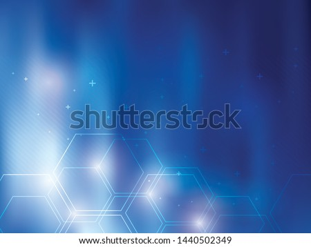 Blue abstract background technology with hexagonal shapes. Bright background and vibrant color.