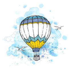 Blue abstract background with air balloon flying in the sky. Hand drawn vector illustration.
