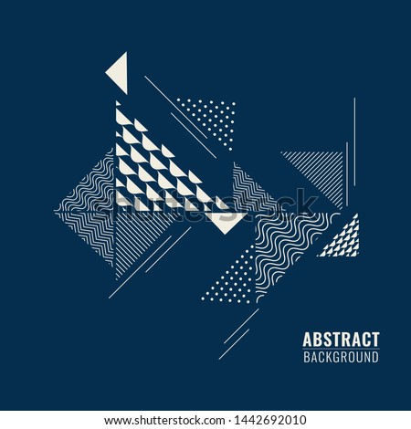 Blue abstract background with geometric shape triangular different patterns in flat style. #1442692010