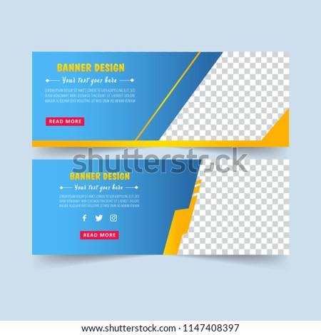Blue abstract banner. Banner set.  Brochure design. Sale card. Gift voucher. Vector illustration