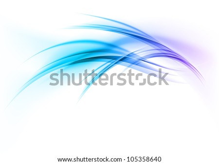 blue abstract curves on the white background