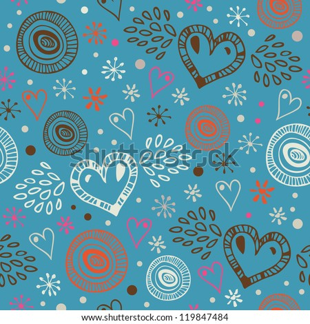 Blue abstract decorative seamless background with hearts. Endless doodle pattern. Ornate drawn texture