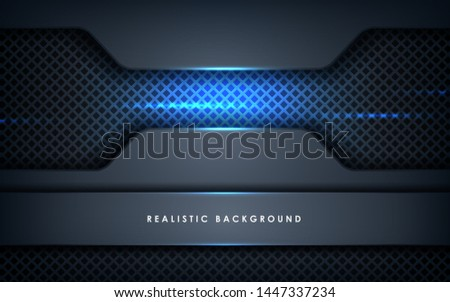Abstract Grey Polygonal Background With Blue Waves