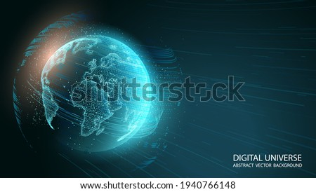 Blue abstract futuristic background. Vector. Luminous planet Earth is moving in outer space. Planet map. Contours of continents from shimmering chaotic particles. Science and modern technologies.
