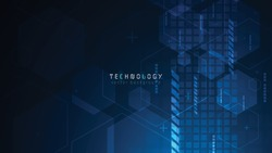 blue abstract hexagon technology background with copyspace,futuristic tech background,communication innovative technology background,abstract hexagon connection background