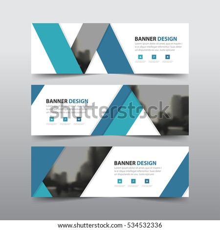 Blue abstract label corporate business banner template, horizontal advertising business banner layout flat design set #534532336