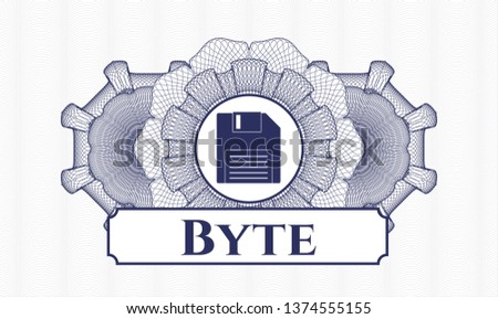 Blue abstract linear rosette with diskette icon and Byte text inside
