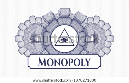 Blue abstract linear rosette with illuminati pyramid icon and Monopoly text inside