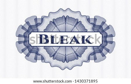 Blue abstract linear rosette with text Bleak inside