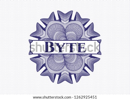 Blue abstract linear rosette with text Byte inside