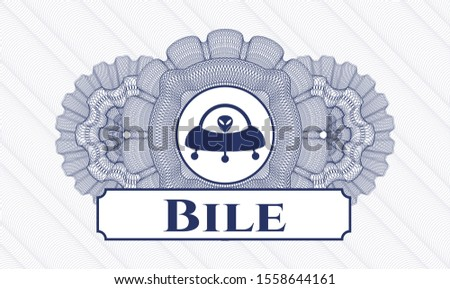 Blue abstract linear rosette with ufo with aline inside icon and Bile text inside