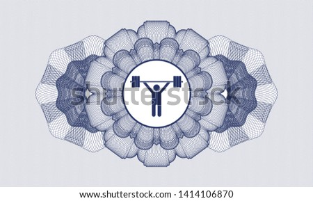 Blue abstract linear rosette with weightlifting icon inside