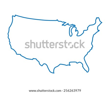 Free US Map Silhouette Vector - Map of us blue