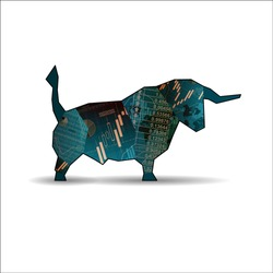 Blue abstract market bull with graphs and numbers isolated on white background