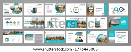 Blue abstract presentation slide templates. Infographic elements template  set for web, print, annual report brochure, business flyer leaflet marketing and advertising template. Vector Illustration ストックフォト ©
