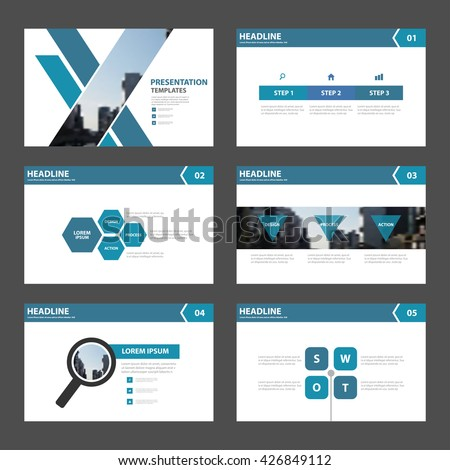 Blue Abstract presentation templates Infographic elements flat design set for brochure flyer leaflet marketing advertising