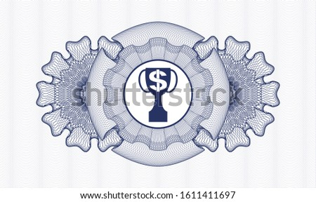 Blue abstract rosette with trophy with money symbol inside icon inside