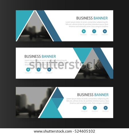 Blue abstract triangle corporate business banner template, horizontal advertising business banner layout template flat design set #524605102
