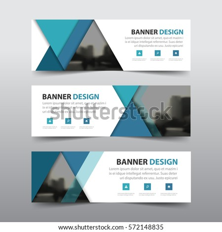 Blue abstract triangle corporate business banner template, horizontal advertising business banner layout template flat design set , clean abstract cover header  #572148835