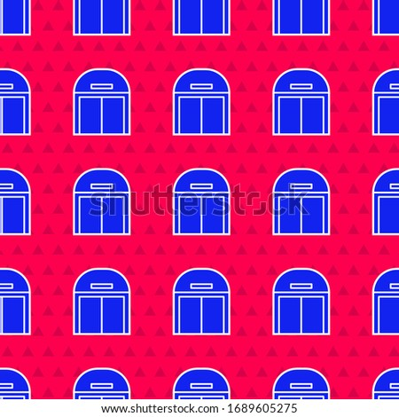 Blue Aircraft hangar icon isolated seamless pattern on red background.  Vector Illustration
