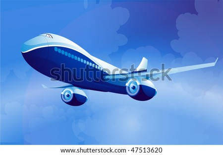 Blue airplane. Vector.