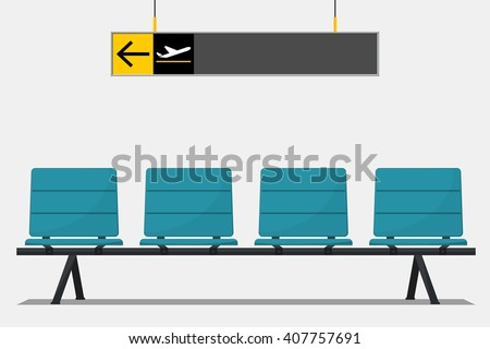 Blue airport seat in waiting area and wayfinding signage. Flat design. Vector Illustration.