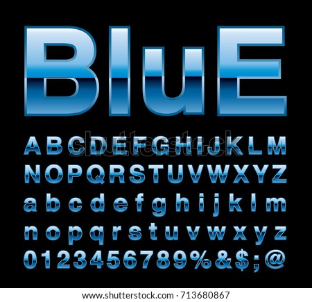 blue alphabet, fat blue letters, vector illustration