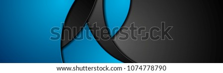 Blue and black abstract wavy corporate banner design. Web header vector background