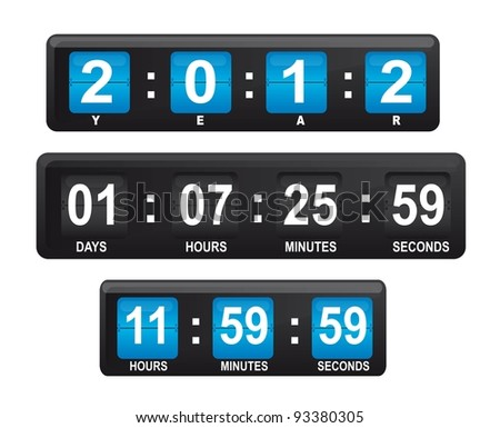 Blue and black display with numbers with date and hour, vector illustration and editable