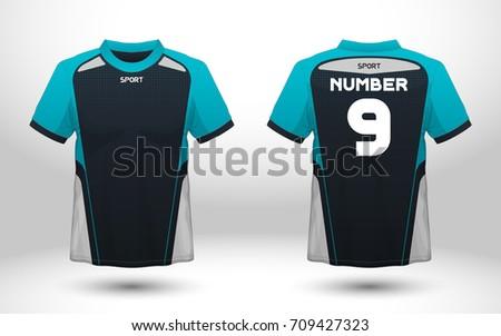 Blue and black layout football sport t-shirt design. Template front, back view. Soccer kit national team shirt mock up. Vector Illustration.