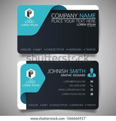 Blue and black modern creative business card and name card,horizontal simple clean template vector design, layout in rectangle size.