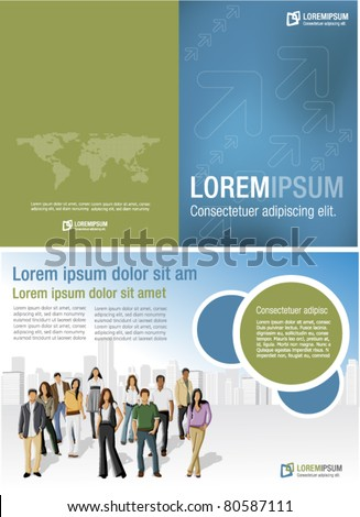 Blue and brown template for advertising brochure with business people