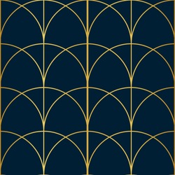 Blue and Gold Arch Art Deco Inspired Seamless Pattern Print Background