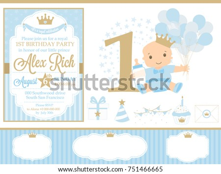 Blue and gold prince party decor. Cute happy birthday card template elements. Birthday first party and boy baby shower design elements set. Seamless classic pattern backgrounds.