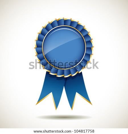 Blue and gold ribbons award, vector illustration