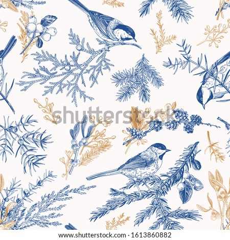 Blue and gold seamless pattern with birds. Vintage style. Vector botanical illustration with winter plants: spruce, mistletoe, larch, eucalyptus seeds, snowberry.