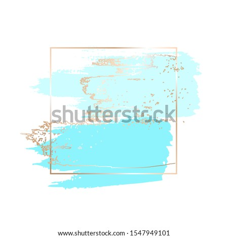 Blue and golden brush strokes, spots in gold square frame on a white background. Vector illustration. Vector design template for banner, card, cover, web, flyer.