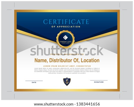 blue and golden Modern Distributor Certificate