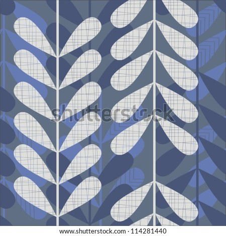blue and gray retro leaves on dark background  seamless pattern