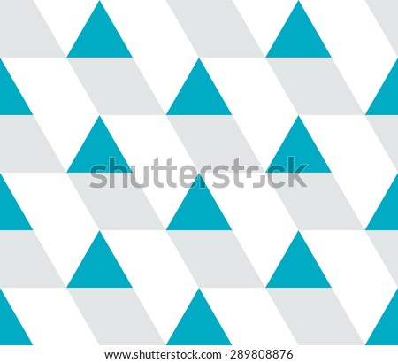 Blue and gray triangular prism seamless pattern on white. Triangle geometric pattern. Modern stylish texture. Geometrical abstract repeating tiles from triangles. Vector illustration.
